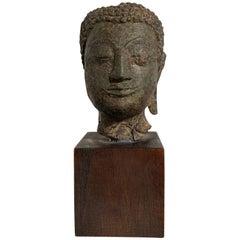 Small Thai Sukhothai Bronze Buddha Head, Kamphaeng Phet Style, 15th Century