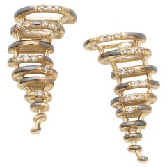 Small Tornado Earrings Made in 18 Karat Gold with White and Brown Diamonds