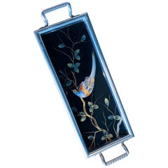 Small Tray Bird of Paradise Motive, France 1930s, French Art Deco