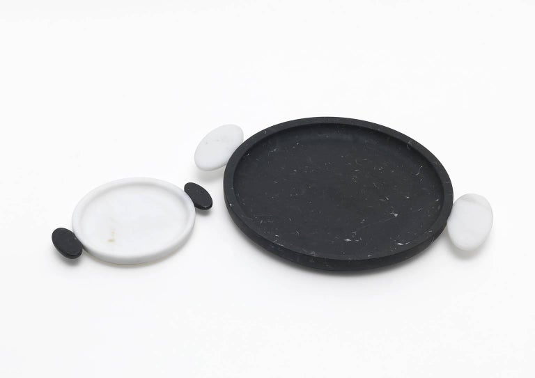 Modern Small Tray in White Michelangelo and Black Marquinia by Matteo Cibic, Italy For Sale