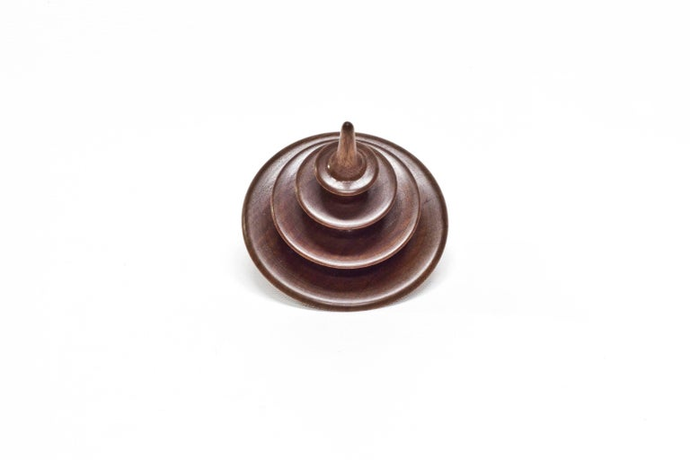 Turned Small Tree Elemental Spinning Top in Oiled Walnut by Alvaro Uribe for Wooda For Sale