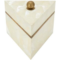 Small Triangular Postmodern Tessellated Stone and Seashell Lidded Box, 1990s