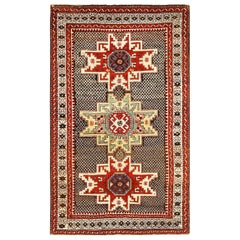Small Tribal Antique Caucasian Kuba Rug. Size: 3 ft 6 in x 5 ft 6 in