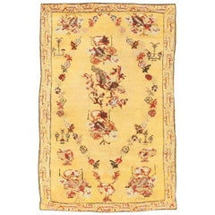 Small Tribal Gold Antique Turkish Ghiordes Carpet. Size: 3 ft 4 in x 5 ft