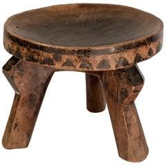 Small Tribal Wooden Stool from Tanzania, Mid-20th Century