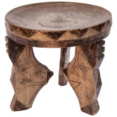 Small Tribal Wooden Stool from Tanzania, Mid-20th Century