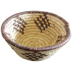 Small Tribal Woven Basket in Natural and Brow