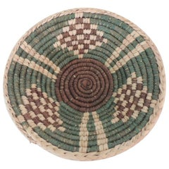 Small Tribal Woven Basket in Natural, Green and Brown