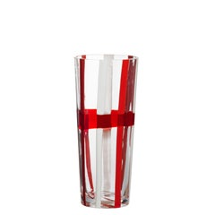 Small Troncocono Vase in Red and White by Carlo Moretti