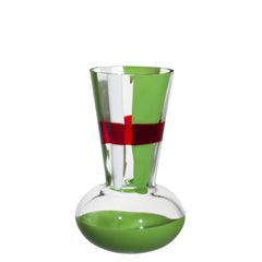 Small Troncosfera Vase in Red, Green and White by Carlo Moretti