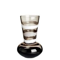 Kleine Troncosfera Vase in weiß, grau und schwarz von Carlo Moretti