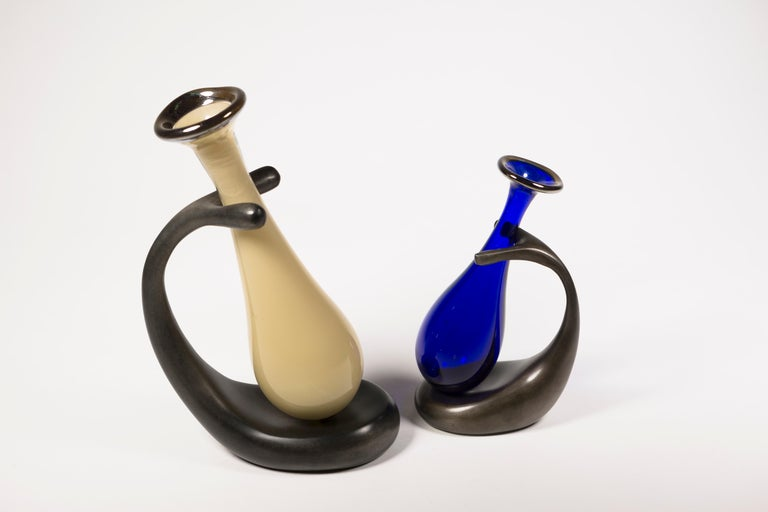 Truly Lazy Vase, Bud Vase, Cast Aluminum, Blown Glass, Jordan Mozer, 1999 For Sale 3