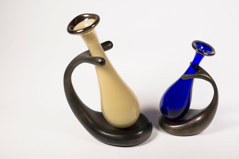 Truly Lazy Vase, Bud Vase, Cast Aluminum, Blown Glass, Jordan Mozer, 1999 For Sale 5