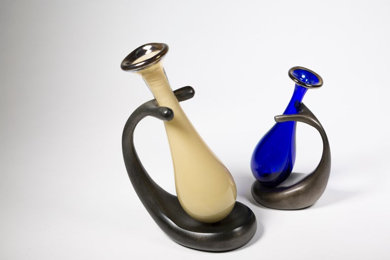Truly Lazy Vase, Bud Vase, Cast Aluminum, Blown Glass, Jordan Mozer, 1999 For Sale 6