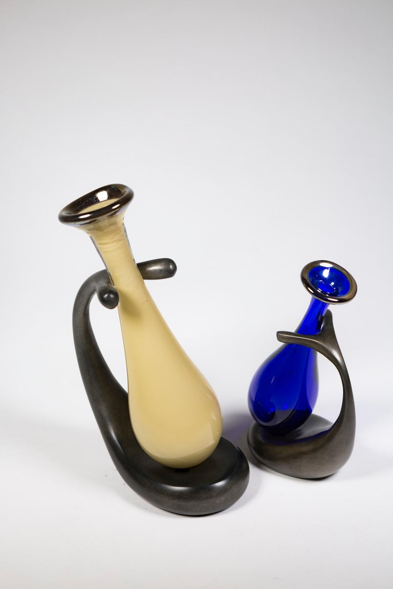 Truly Lazy Vase, Bud Vase, Cast Aluminum, Blown Glass, Jordan Mozer, 1999 For Sale 7