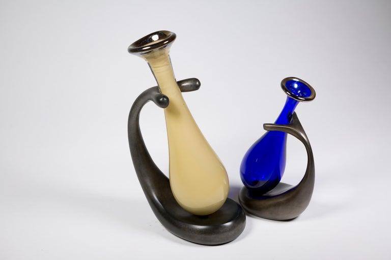 Truly Lazy Vase, Bud Vase, Cast Aluminum, Blown Glass, Jordan Mozer, 1999 For Sale 2