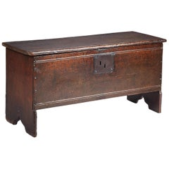 Small Tudor Oak Boarded Chest, Mid-16th Century, English, circa 1540-1560