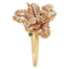 18 Karat Yellow Gold Red and Pink Sapphire Opal Tsavorite Small Tulip Ring