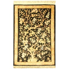 Small Turkish Silk Rug, Handmade Carpet Oriental Rug Tree of Life