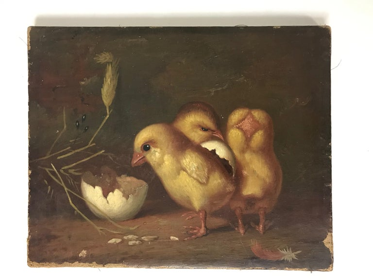 """Victorian Small Turn of the Century """"Fresh Chicks"""" Oil on Canvas For Sale"""