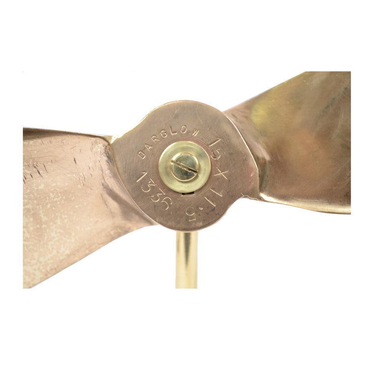 Mid-20th Century Small Two-Bladed Bronze Propeller with Base For Sale