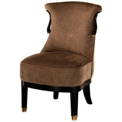 Small Upholstered Chair Gazzella, Natural Horn, Solid Brass Finials and Details