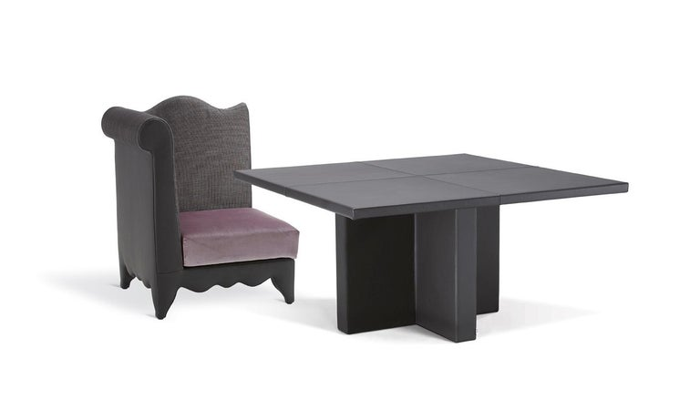 Italian Small Upholstered Leather Table Customizable For Sale