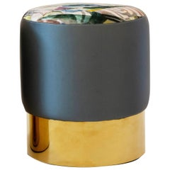 Small Upholstered Ottoman with Brass Base