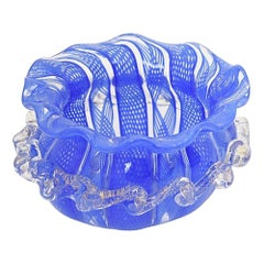 Small Venetian Blue and Clear Lattice Art Glass Bowl