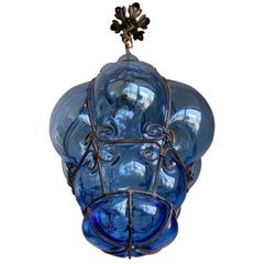 Small Venetian Murano Pendant Light with Mouth Blown Blue Colored Glass in Frame