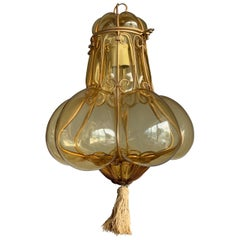 Small Venetian Murano Pendant Light with Mouthblown Amber Colored Glass in Frame