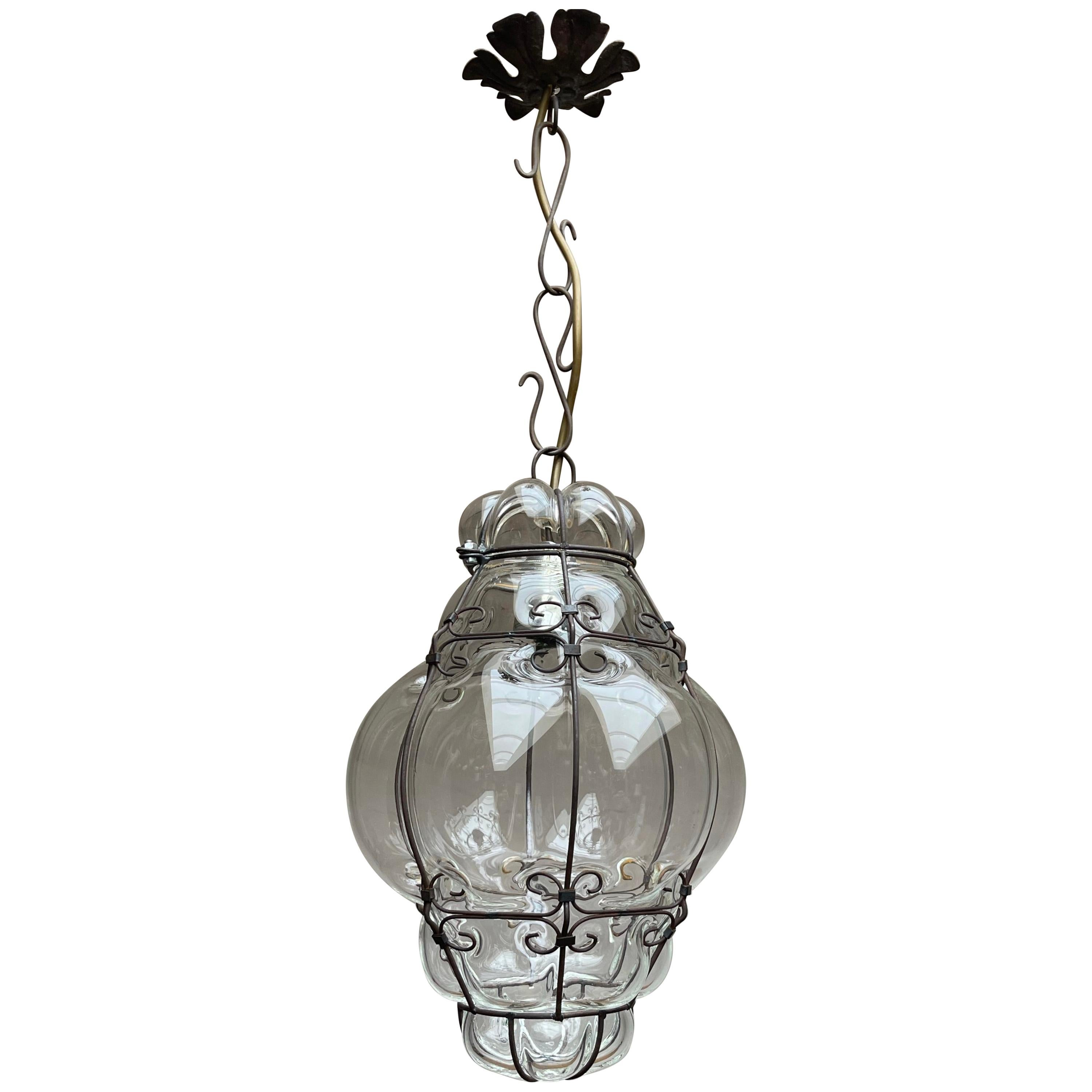 Small Venetian Murano Pendant Light with Mouthblown Clear Glass in Metal Frame