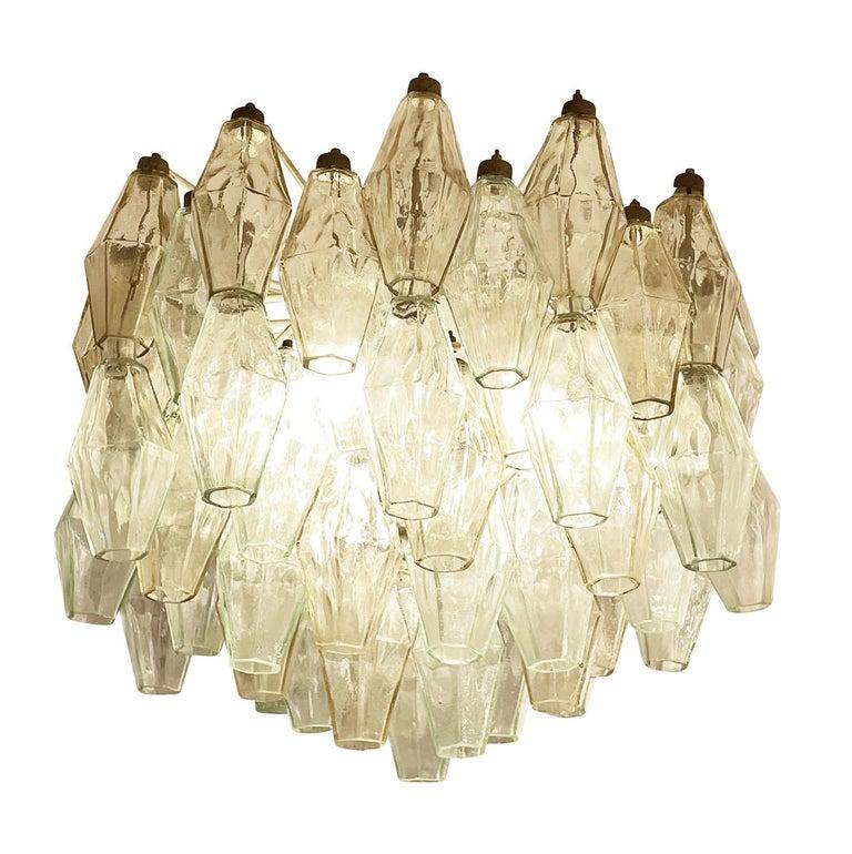 Italian Small Venini Poliedri Murano Glass Chandelier