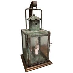Small Verdigirs Copper Lantern Table Lamp