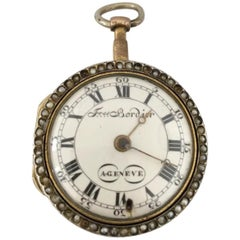 Small Verge Fusee Enamel Gold Pocket Watch, Freres Bordier A Geneve, circa 1780s