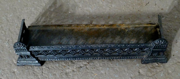 19th Century Small Victorian Cast Iron Fender or Dog Grate For Sale