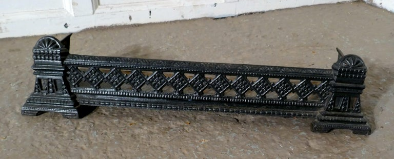 Small Victorian Cast Iron Fender or Dog Grate For Sale 1