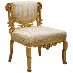 Small Victorian Chinese Gold Giltwood Chinese Chair in the Chippendale Style