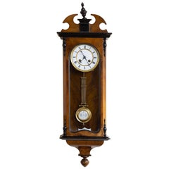 Small Victorian Walnut and Ebony Cased Vienna 'Regulator' Wall Clock