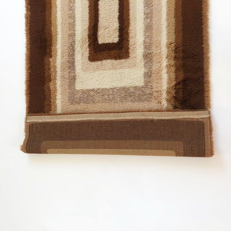 Small Vintage 1970s Modernist High Pile Op Art Carpet Rug, Germany, 1970s For Sale 6