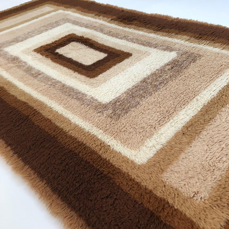 20th Century Small Vintage 1970s Modernist High Pile Op Art Carpet Rug, Germany, 1970s For Sale