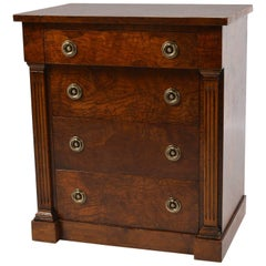 Small Vintage American Neoclassical Style Burled Walnut Five-Drawer Chest