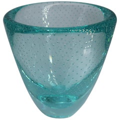 Small Vintage Aqua Green Art Glass Bowl with Bubbles, 1960s