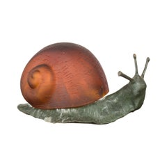 Small Vintage Bronze Snail with Glass Shell Body and Electrified Lamp