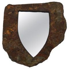 Small Vintage Brutalist Raw-Edge Schist Shield-Shaped Mirror