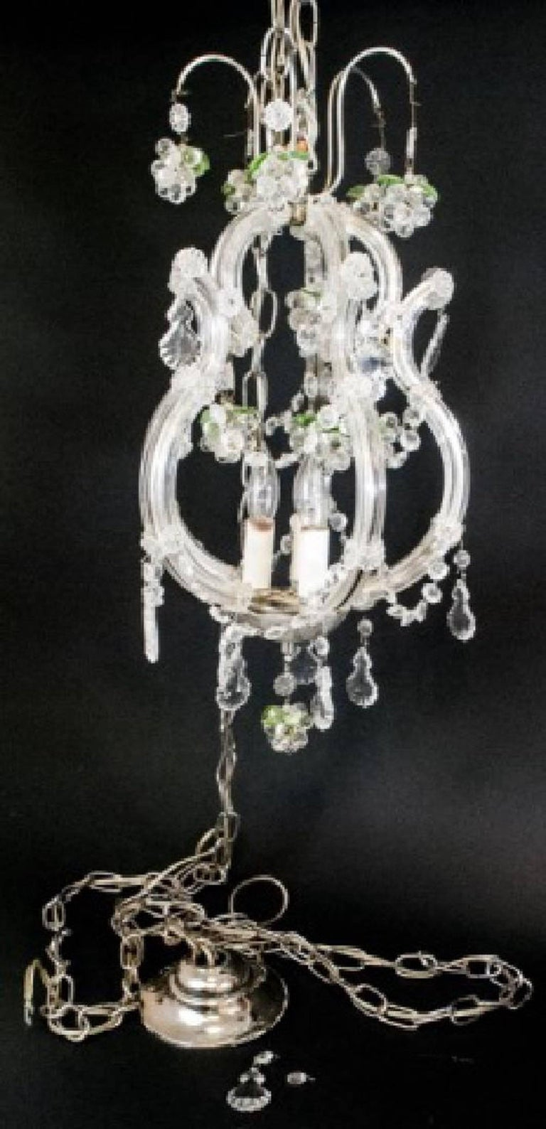 Small vintage crystal and grape cluster motif chandelier for sale at elegant petite art glass and crystal chandelier with grape motif clusters and green crystal leaves arubaitofo Image collections