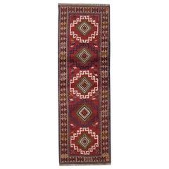 Small Vintage Geometric Runner Rug Handwoven Tribal Traditional Carpet