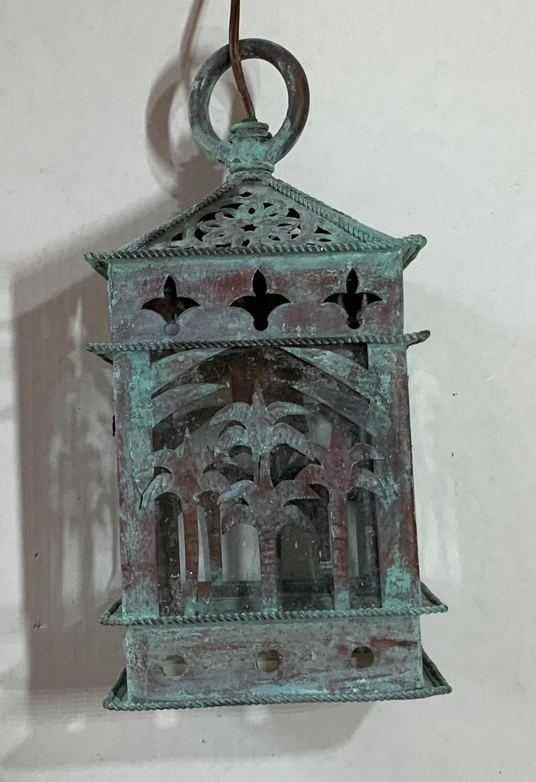 American Small Vintage Hanging Copper Lantern