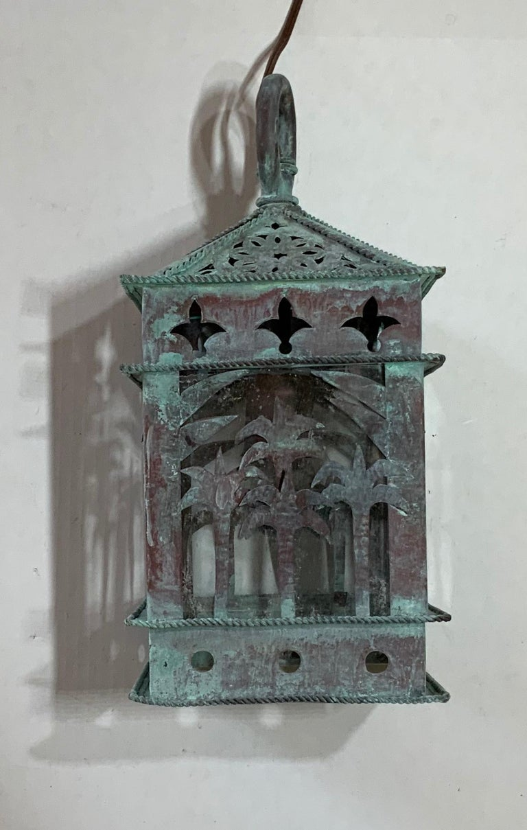 Small Vintage Hanging Copper Lantern In Good Condition In Delray Beach, FL