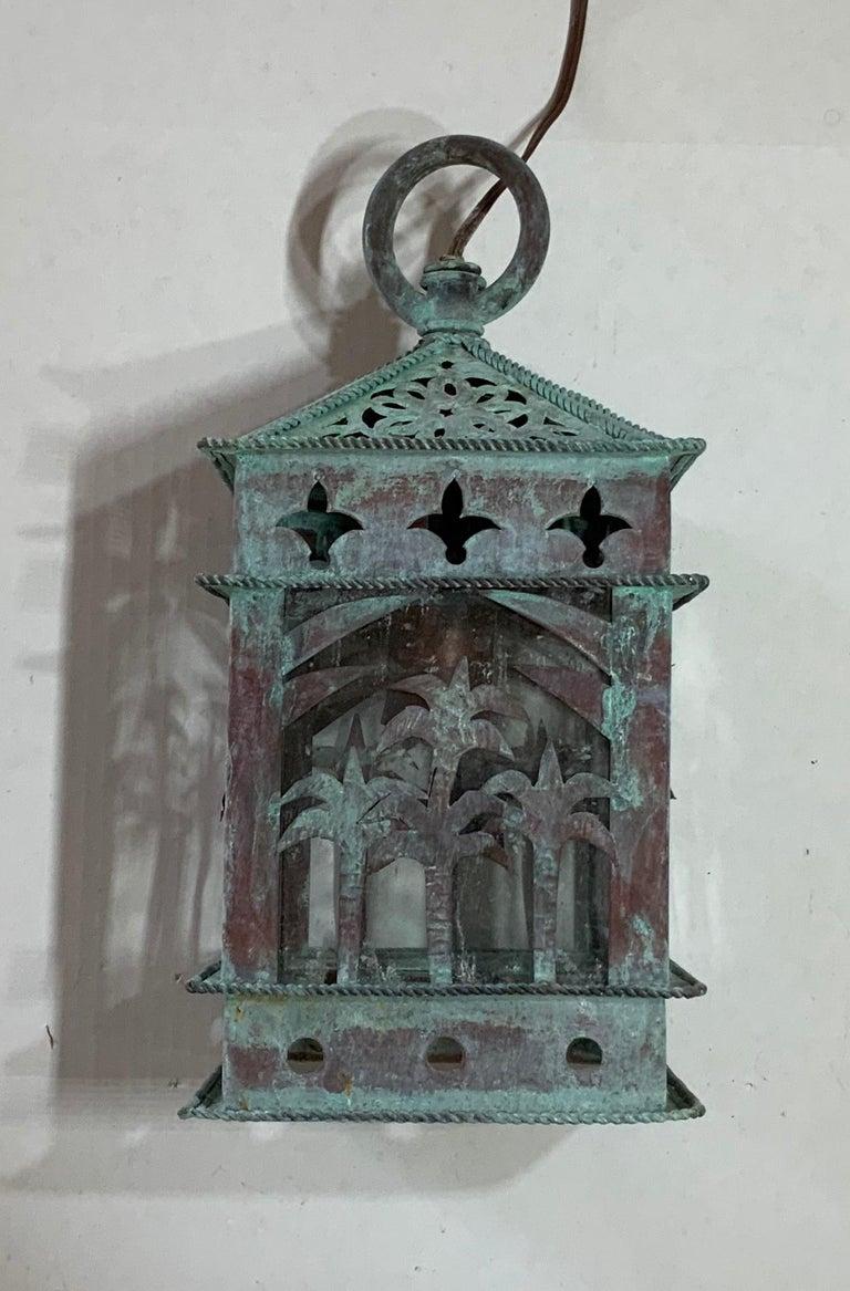 Mid-20th Century Small Vintage Hanging Copper Lantern